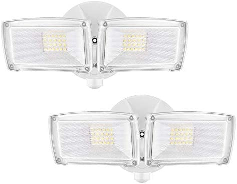 LEPOWER 2500LM 2 Pack LED Security Light, 22W Super Bright Outdoor Flood Light, ETL- Certified, 5500K, IP65 Waterproof, 2 Adjustable Heads for Entryways, Stairs, Yard and Garage White Light Renewed