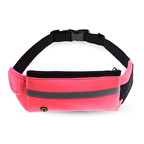 Unisex Waist Bag Pack Sports Travel Cycling Waist Purse Pink - 4