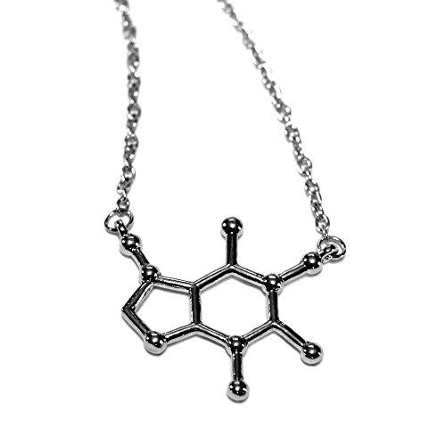 The Original Santa Monica Charm Co. Caffeine Molecule Necklace With Bright Silvertone Polished Science Charm (Caffeine)