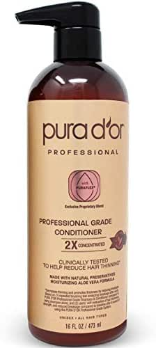 PURA D'OR Professional Grade Conditioner Ultra Moisturizing 2X Concentrated Actives for Maximum Results, Clinically Tested, Made with Argan Oil, Men & Women, 16 Fl Oz