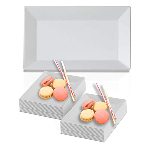 (Disposable Elegant Plastic Dessert Plate Set - Heavy Duty Fancy Rectangle White Salad Plates - Reusable Party Plates For Wedding, Christmas, Thanksgiving, Birthday & Other Occasions - 120 Cake Plates)