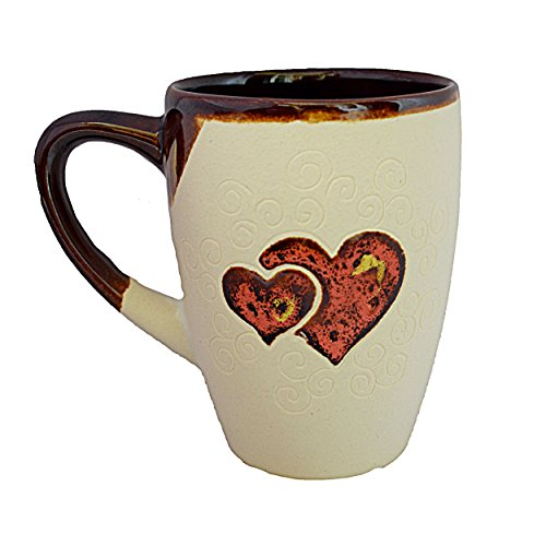 Handmade Coffee Mugs, Mugs With Heart, I Love You Mug, Pottery Mug, Gift Mug For Mom, Dad, Women, Men, Girlfriend, Boyfriend – White ()