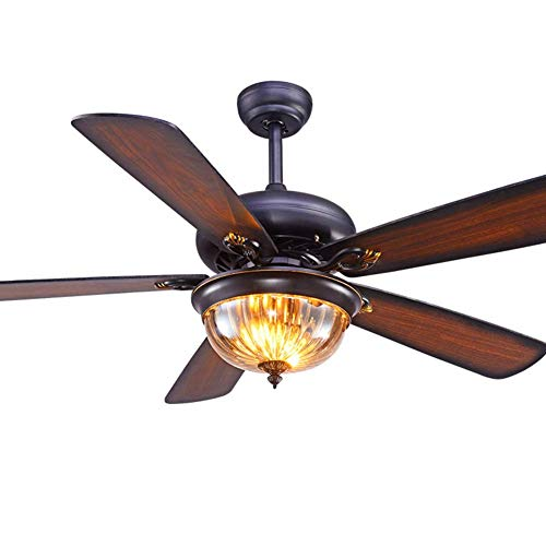 LXT PANDA Retro Ceiling Fan with Light,Restaurant Bedroom Living Room Home Ceiling Remote Control Chandelier Silent Natural Wind, Home Lighting Fan Lamps ()