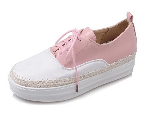 AllhqFashion Damen Schnüren Rund Zehe Mittler Absatz Rein Pumps Schuhe Pink