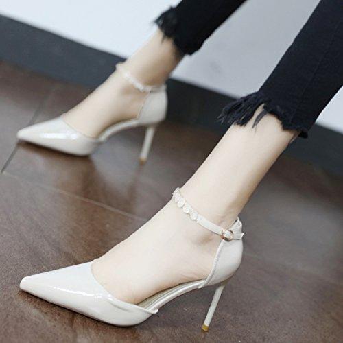 Xue Qiqi Pumps Fein mit High-Heel Schuhe Personalisierte Wasser bohren's Tie Damen Schuhe Stylisch bemalte Leder mit konischen Seiten Leer Schuh Geschlitzt 39 Beige