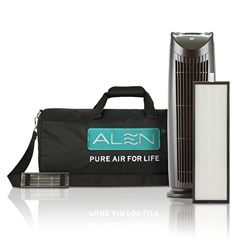 (Alen T500 Tower Air Purifier Traveler Bundle with Travel Carrying Case and HEPA-Silver-Carbon Filter for Allergies, Asthma, and Light Odors)