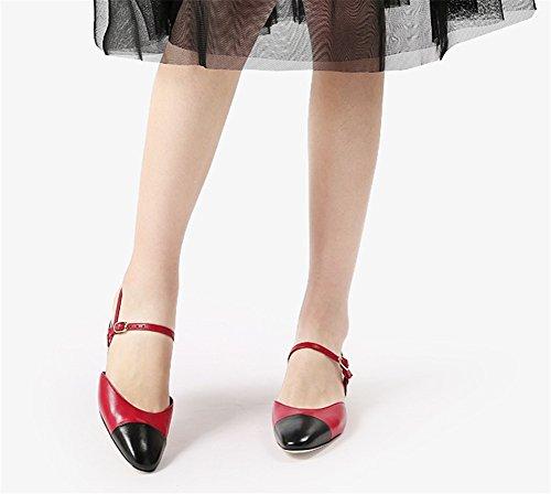 Sandalias Verano Baotou 38 Xie Colorblock Zapatos De Cuero Mujer Hueco Pequeñas 34 Red Oveja wqa4Xtp