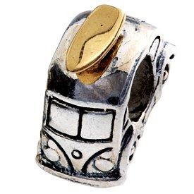 01397-Combi Surf or 14 carats Perle en argent Sterling 925 Compatible avec Bracelets Pandora, Chamilia Trolls