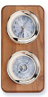 Clock and Barometer Brass Weather Station on Oak Wood Base by HS