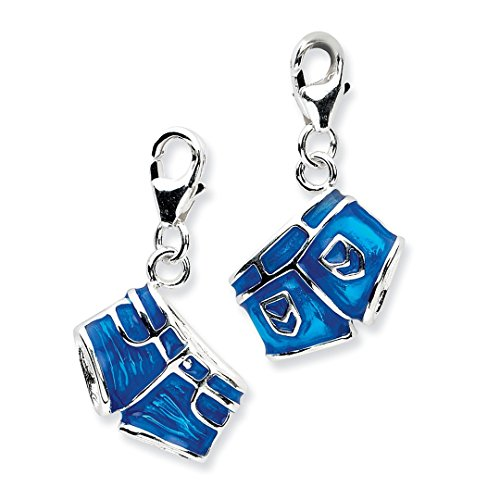 925 Sterling Silver 3 D Enameled Jean Shortslobster Clasp Pendant Charm Necklace Fine Jewelry For Women Gift Set ()