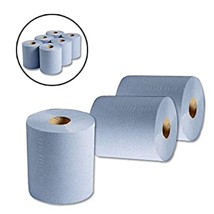 Search  Wellpack Europe Blue Cleaning Tissue Paper Rolls *** Next Day UK DELIVERY *** Visit Our Exciting  Packaging Catalogue 18 x Rolls of Blue 2 PLY Embossed CENTREFEED Paper Towel Rolls