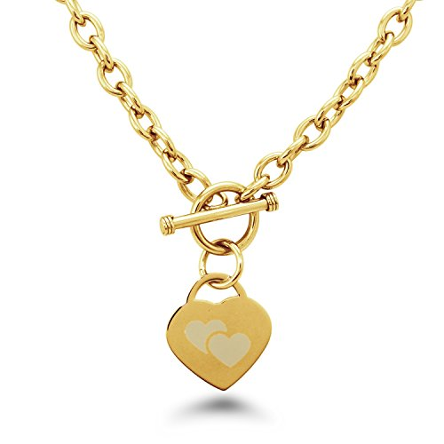 Double Heart Tag Necklace - Tioneer Gold Plated Stainless Steel Double Heart Engraved Heart Tag Charm Necklace