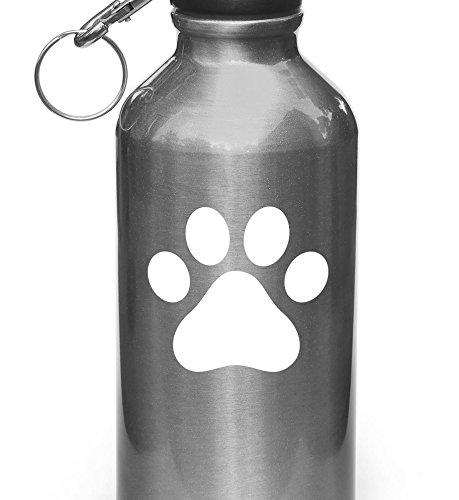 Dog Pawprint - Paw Print - Vinyl Water Bottle Decal - Copyright Yadda-Yadda Design Co. (WHITE)(SM 3
