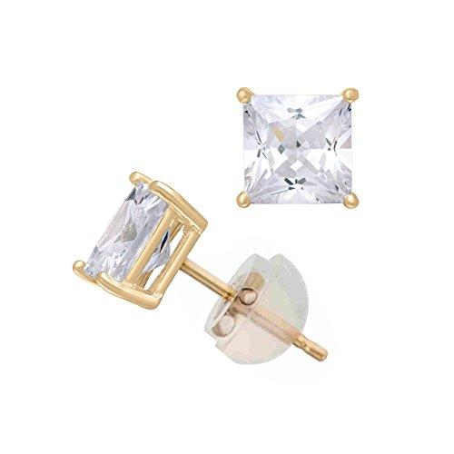 Celebrity Cz Jewelry - 14K Yellow Gold Cubic Zirconia Princess Cut CZ 5.0 mm Stud Earring Comfort Fit