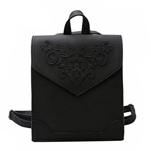 Las mujeres Mochila Bolsa de cuero Repujado De caracteres florales Softback mochilas escolares Bolsa de estilo Negro