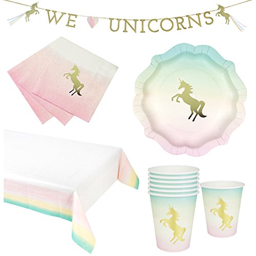 Talking Tables We Heart Unicorns & Pastel Theme Party Bundle for a Children's Party or Birthday | Paper Plates, Napkins, Cups, Table Cover & Garland (Pastel Talking)