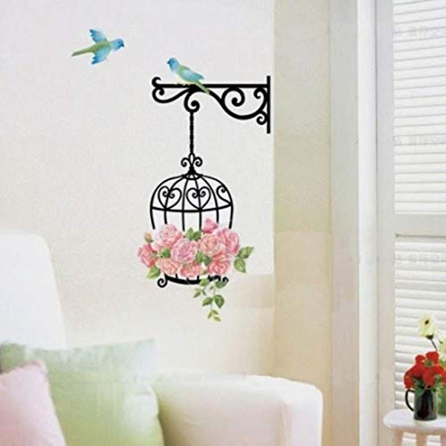 JHKUNO Wall Décor Stickers, Cute bird cage decorative wall stickers DIY decorative wall stickers (Black) ()