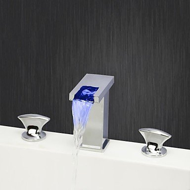 LY Chrome Finish Three Holes Two Handles Color Changing LED Waterfall Widespread Bathroom Sink Faucet