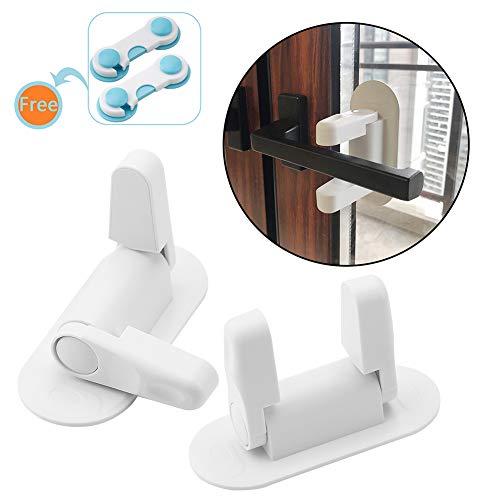 Lever Latch Handles - Door Lever Lock Child Proof Baby Proofing Set Door Handle Lock Latches with 3M Adhesive, White (2 Pack)