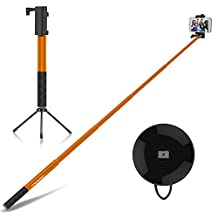 Selfie Stick, MoKo Extendable Self-portrait Monopod 4ft, with Bluetooth Remote Shutter & Metal Tripod, for iPhone 7, SE, 6s Plus, Galaxy J3, S7 Edge, LG G5, Moto G & More(88mm Max Width), ORANGE