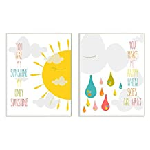 The Kids Room by Stupell 2 Piece Graphic Wall Plaque Set, You Are My Sunshine