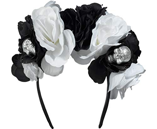 AMSCAN Skull Floral Headband Deluxe Black and Bone Halloween Costume Accessories, One Size ()