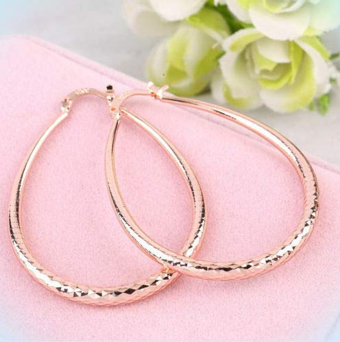 Pretty New Rose Gold Plated Copper Alloy Etched Oval U-Shape 2