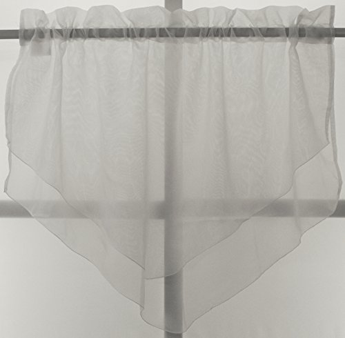 Emelia Sheer Double Layer Ascot Valance 40Wx25L- White