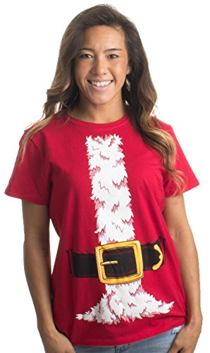 Santa Claus Costume | Jumbo Print Novelty Christmas Holiday Humor Ladies' T-shirt-Ladies,S (Santa Claus Costume For Girl)
