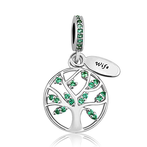 - Charmed Craft Family Tree of Life Charms I Love You Wife Charms Mom Charm Beads for Bracelets (green wife)