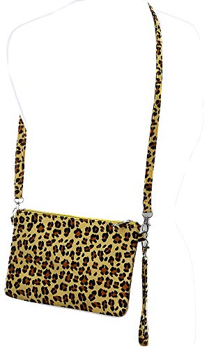 (Faux Leopard Skin Animal Clutch Makeup Pouch Crossbody Shoulder Bag Women Yellow)