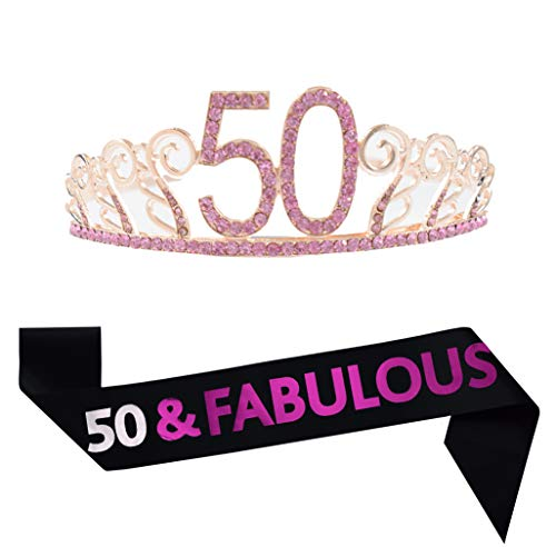 50th Birthday Gold Tiara and Sash Satin Sash and Crystal Rhinestone Crown for Happy 50th Birthday Party Supplies Favors Decorations Cake Topper]()