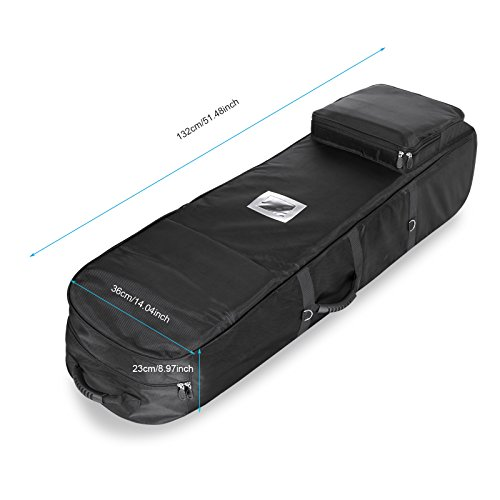 Golf Travel Bag PEATAO Padded Oxford Golf Club Travel Cover ,Black with Two Wheel (US STOCK) by PEATAO (Image #4)