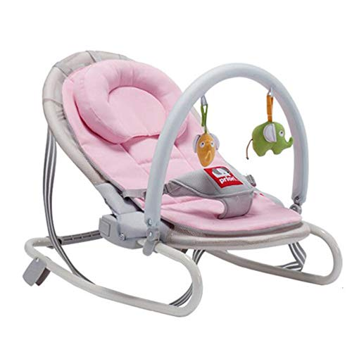 Xiguan Baby Rocking Chair/Reclining Chair Cradle, Portable Folding Multifunctional Electric Swing with Three-Point Safety Lock Free Installation, Baby 0-36 Months (Color : Pink)