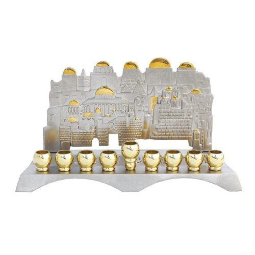 Nickel & Gold Plated Hanukah Wall Menorah <br>Jerusalem View