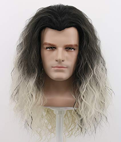 Yuehong Long Gradient Black Gray Ombre Wig Wavy Synthetic Halloween Costume Wigs ()