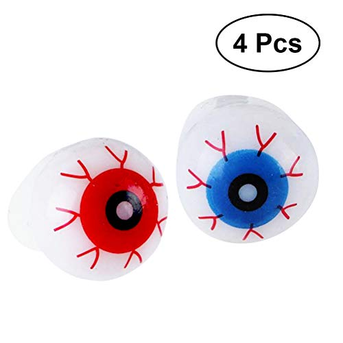 BESTOYARD 4PC LED Jelly Eyeball Rings Flashing Glow Rings Glow in The Dark Rings for Christmas Halloween Kids Children (Random Two Styles)]()