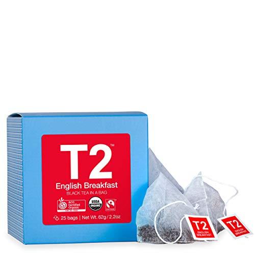 T2 Tea - Fairtrade Certified 100% Organic English Breakfast Black Tea Bags in Box, 62g (2.2oz), 25 Tea - Boxes 2.2 Ounce