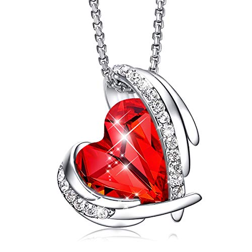CDE Necklace for Women 18K White Gold Plated Embellished with Crystals from Swarovski Red Heart Shape Pendant Necklace Jewelry Ideal Gift for Mother's Day