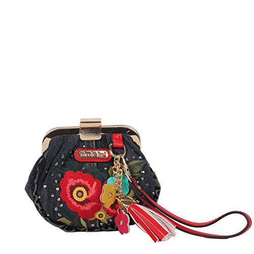 Denim Embroidery [Red] Wristlet Coin Purse with Floral Tassel Keychain (Nicole Lee Handbags And Purses)