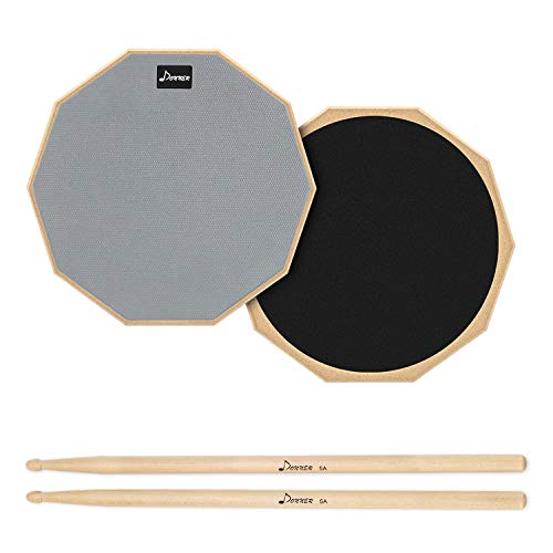 Donner 12 Inches Drum Practice Pad 2-Sided Silent Drum Pad Set Gray With Drum Sticks