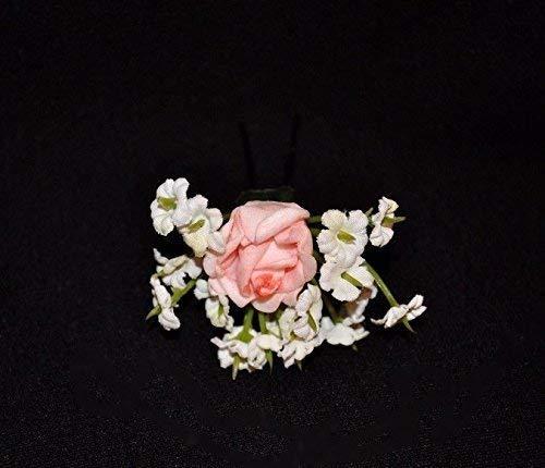 Haarnadel Haarschmuck Braut Dirndl Oktoberfest Blumen Rose rosa - creme