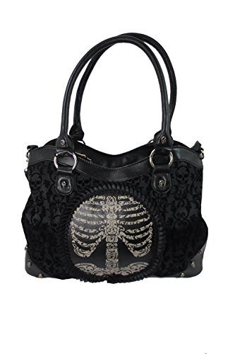Banned Apparel Black Goth Steampunk Flocked Ribcage Skeleton Cameo - Purse Pleated Hobo