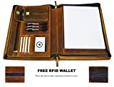 Leather Travel Portfolio | Professional Organizer Men & Women | Tablet Holder Leather Padfolio with Sleeves for documents and Ipad by Aaron Leather (Zipper Closure, Tan)