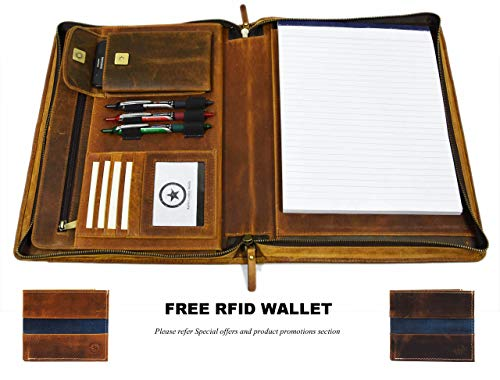 Zippered Genuine Leather Business Portfolio | Easy to Carry Organizer with Writing Pad Holder, Business Card and Pen Slots. IPAD/Tablet Holder and Flip-Closure Phone Pocket -
