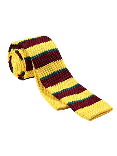 Yellow Stripe Sweater - HISDERN Men's Knit Tie Casual Vintage Smart Skinny Stripe Necktie ,Yellow & Brown & Green,One Size