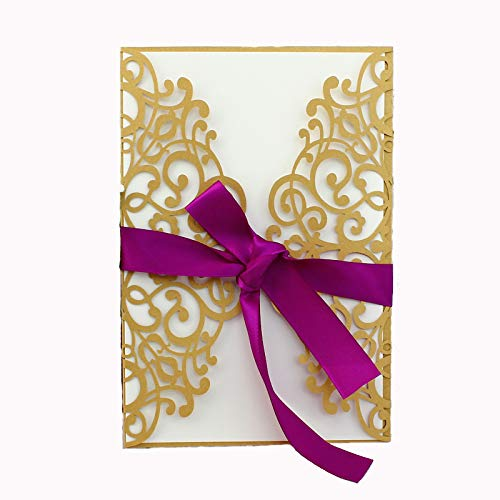 - 50-Pcs Exquisite Carving Wedding Invitation Kits with Silk Ribbon, Gold