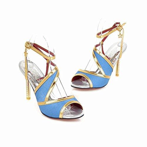 Mee Shoes Damen high heels open toe Schnalle Sandalen Blau
