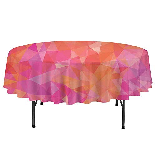 Orange and Pink Leakproof Polyester Round Tablecloth Polygonal Composition with Triangles Geometric Illustration Abstract Art Outdoor and Indoor use D35 Inch Multicolor ()
