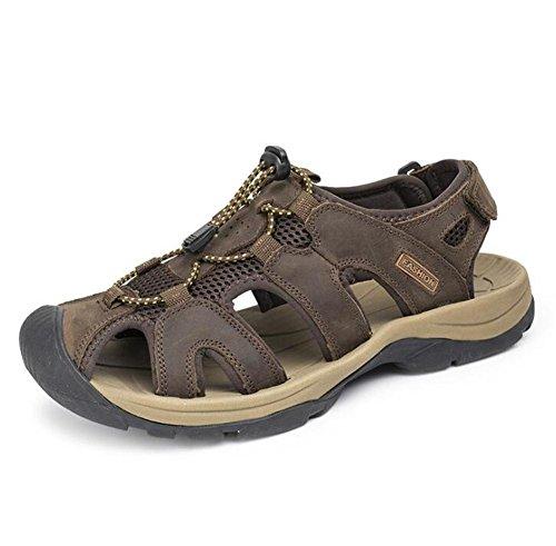 Hombre Velcro Zapatos 38 NSLXIE de Viaje Diapositivas Playa Sandalias a Brown al Verano EU39 Genuino Antideslizante Caminar Libre Cuero Respirable Tobogán Aire eu41 45 Cerrado de Tamaño dEwwzp1q